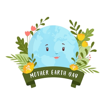 Botanical mother earth day concept illustration ribbon greenery