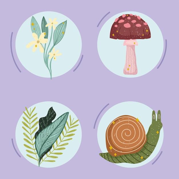 식물성 자연 세트