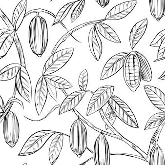 植物のアウトライン手描きイラストシームレスパターン