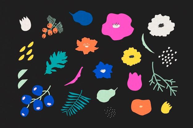 Motivo botanico su sfondo nero