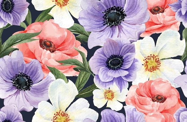 Botanical pattern flower watercolor, thanks card, textile print illustration
