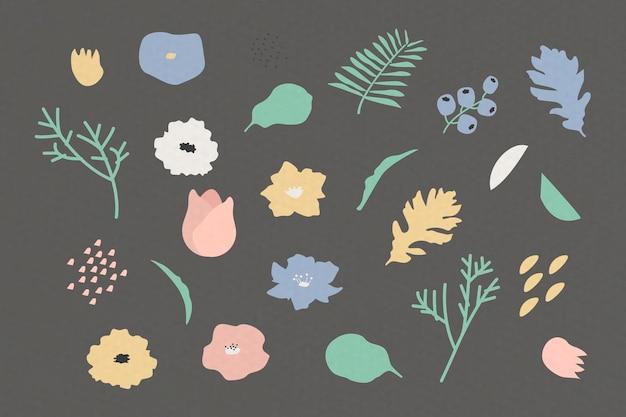 Ботанический узор на сером фоне