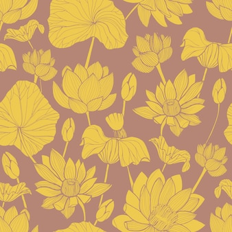 Botanical pattern with beautiful yellow blooming lotus hand drawn on brown background.