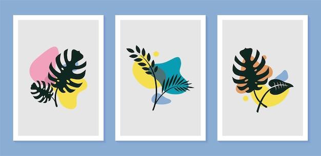 인쇄, 표지, 벽지 미니멀리스트에 대한 추상 모양으로 설정된 식물 식물 벽 예술
