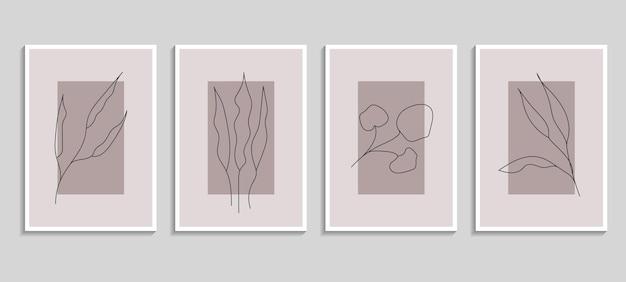 植物ポスターベクトルセット。印刷用の植物設計