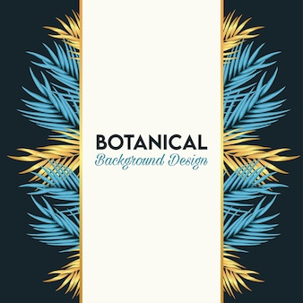 Botanical poster with golden and blue leafs