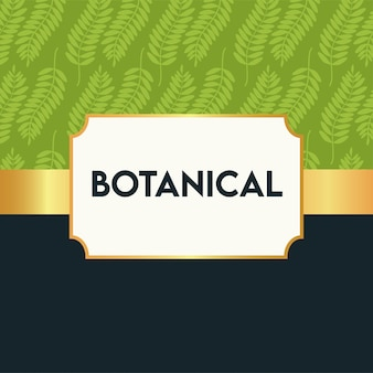 Botanical poster with leafs pattern and golden frame
