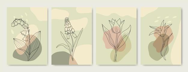 ボタニカルプリント自由奔放に生きるミニマリストの印刷可能な壁アート抽象的な家の装飾花柄ボヘミアンアートワー