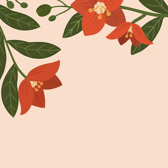 Botanical red flower copy space social ads