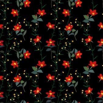 植物の赤い花のシームレスパターン