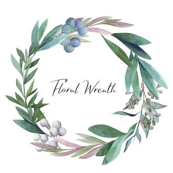 Botanical round wreath, watercolor hand drawn