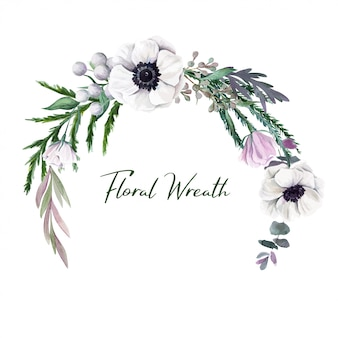Botanical round wreath, watercolor hand drawn