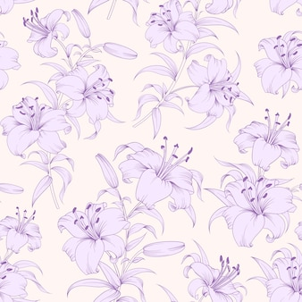 Botanical seamless pattern. blooming flower lilies.