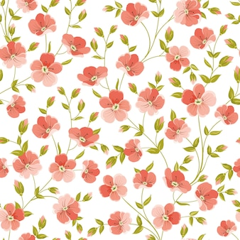 Botanical seamless pattern. blooming flower linen.