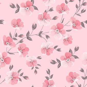 植物のシームレスなパターン。ピンクの背景に咲く花。