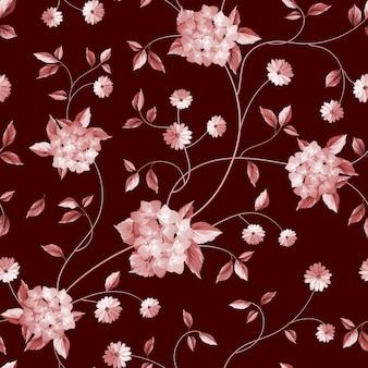 Ботанический бесшовный образец. цветущие цветочные пионы и сирень.