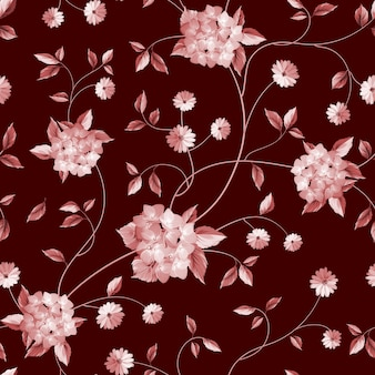 Botanical seamless pattern. blooming flower peonies and lilacs.