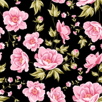 Botanical seamless pattern of blooming flower peonies.