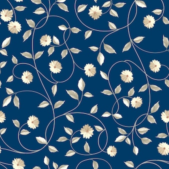 Botanical seamless pattern. blooming flower in retro style.