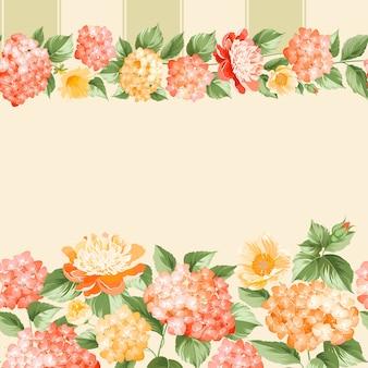 植物のシームレスなパターン。ピンクの背景に咲くアジサイ。