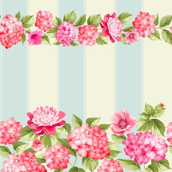 植物のシームレスなパターン。ヴィンテージ背景に咲くアジサイ。