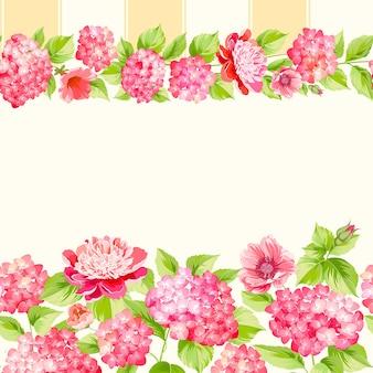 植物のシームレスなパターン。白い背景に咲くアジサイ。