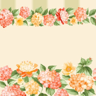 Botanical seamless pattern. blooming hydrangea on pink background.