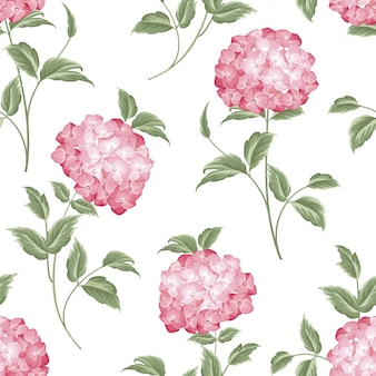 Botanical seamless pattern. blooming hydrangea on white background.
