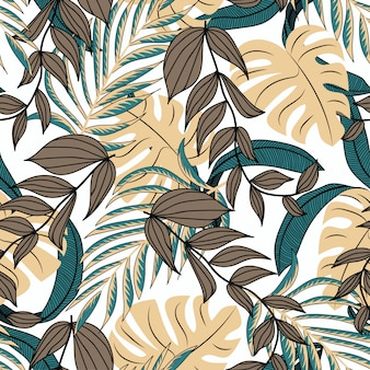Botanical seamless pattern in fashionable style. tropical design.