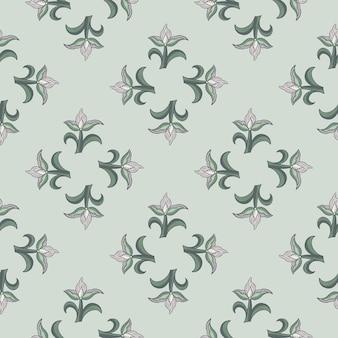 간단한 튤립 꽃 모양으로 기하학적 스타일의 식물 원활한 패턴입니다. 파란색 배경입니다. 포장지 및 패브릭 질감을 위한 그래픽 디자인. 벡터 일러스트 레이 션.