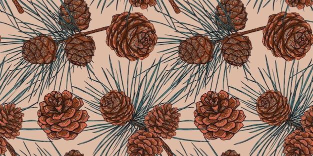コーンとクリスマス杉の枝の植物のシームレスなパターン