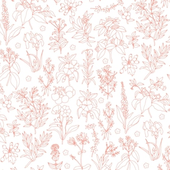 Botanical seamless pattern in pink color