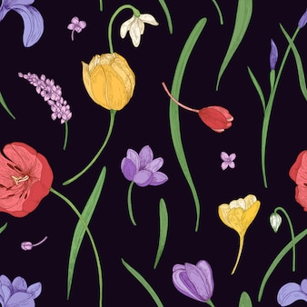 Botanical seamless pattern with beautiful blooming spring flowers and leaves scattered on black background