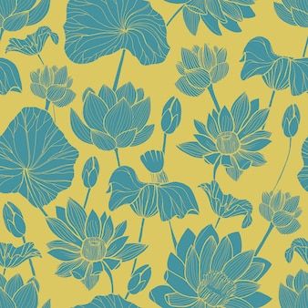 Botanical seamless pattern with beautiful blue blooming lotus hand drawn on golden background