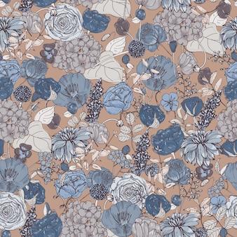 美しい青い牧草地の花と植物のシームレスなパターン