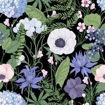 Ботанический бесшовный образец с красивыми дикими цветущими цветами