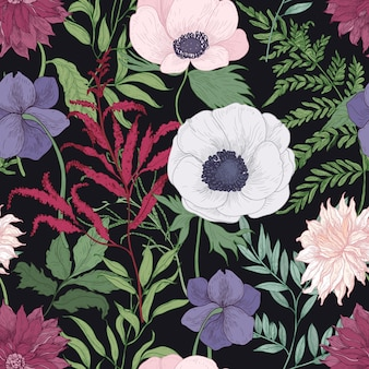 Botanical seamless pattern with blooming garden flowers on black background.