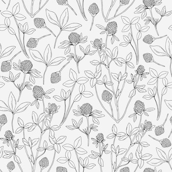 Botanical seamless pattern with clover on white background.