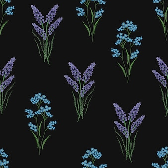 Botanical seamless pattern with embroidered blooming lavender and forget-me-not flowers