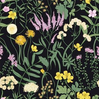 꽃이 만발한 다년생 식물이 있는 식물의 매끄러운 패턴입니다. 검은 배경에 야생 초원 꽃이 피는 자연 배경. 벽지, 패브릭 인쇄에 대한 현실적인 꽃 벡터 일러스트 레이 션.