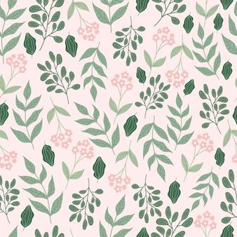 花と葉と植物のシームレスなパターン