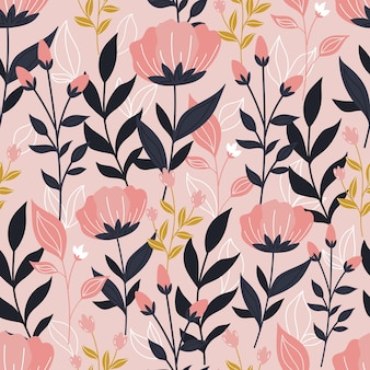Botanical seamless pattern with flowers  and leaves