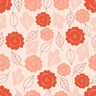 パステルピンクの背景に花模様の植物のシームレスなパターン。葉と花の壁紙。花柄の背景。