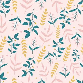 Ботанический фон с цветами на пастельно-розовом фоне. листья и цветы обои. цветочный фон.