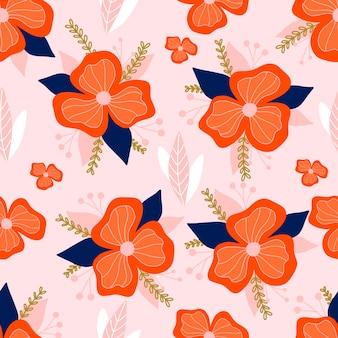 パステルピンクの背景に花と植物のシームレスなパターン。葉と花の壁紙。花の背景。