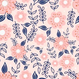 パステルピンクの背景に花模様の植物のシームレスなパターン。葉と花の壁紙。