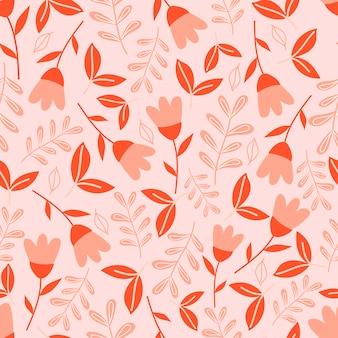 파스텔 핑크 바탕에 꽃과 식물 완벽 한 패턴입니다. 잎과 꽃 배경 화면.