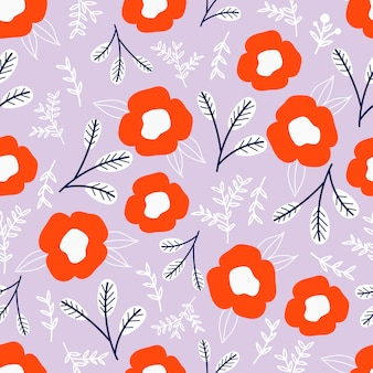 パステルピンクの背景に花と植物のシームレスなパターン。葉と花の壁紙。