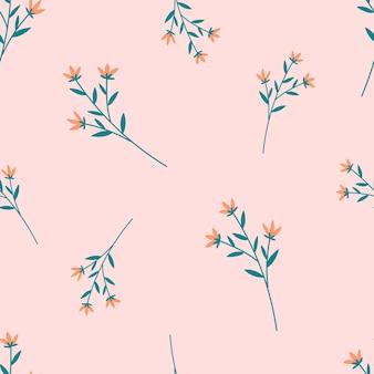 パステルピンクの花と植物のシームレスなパターン
