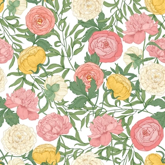 화려한 개화 튤립, 모란, 미나리 아재 비 꽃 식물 원활한 패턴